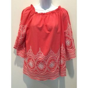 VELZERA EMBROIDERED BELLED SLEEVE TOP 3XL